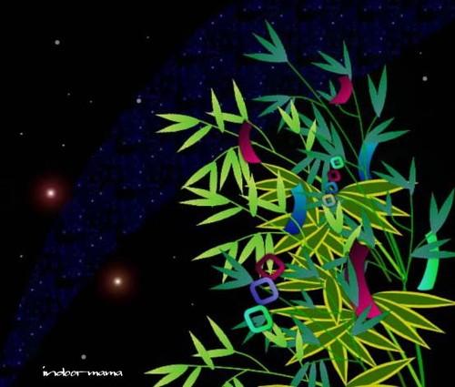 笹の葉揺れる七夕の夜