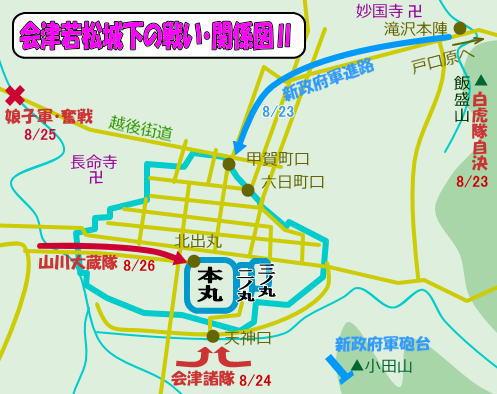 会津若松城下の戦い・関係図Ⅱ