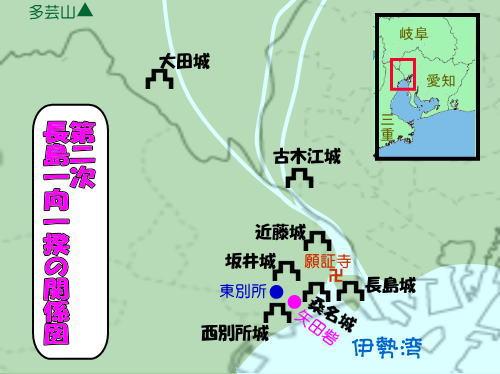 第二次長島一向一揆戦の関係図