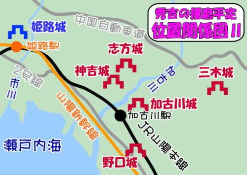 秀吉の播磨平定・関係図Ⅱ