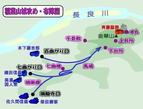 稲葉山城・攻防戦の布陣図