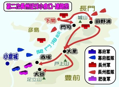 第二次長州征伐・小倉口の戦い進路図