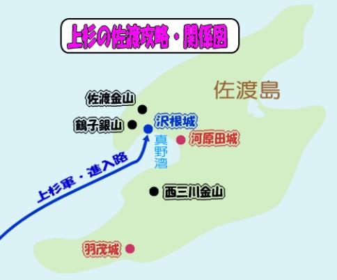 上杉景勝の佐渡攻略戦・関係図